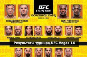 Результаты турнира UFC Vegas 16