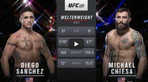Видео боя Майкл Кьеза - Диего Санчес / UFC 239