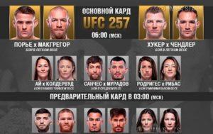 Результаты турнира UFC 257