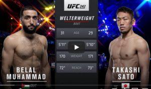 Видео боя Белал Мухаммад - Такаши Сато / UFC 242