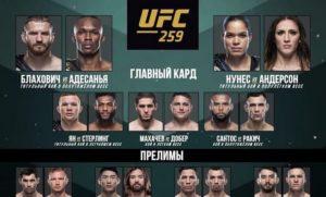 Результаты турнира UFC 259