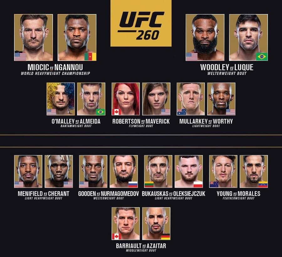 Кард турнира UFC 260