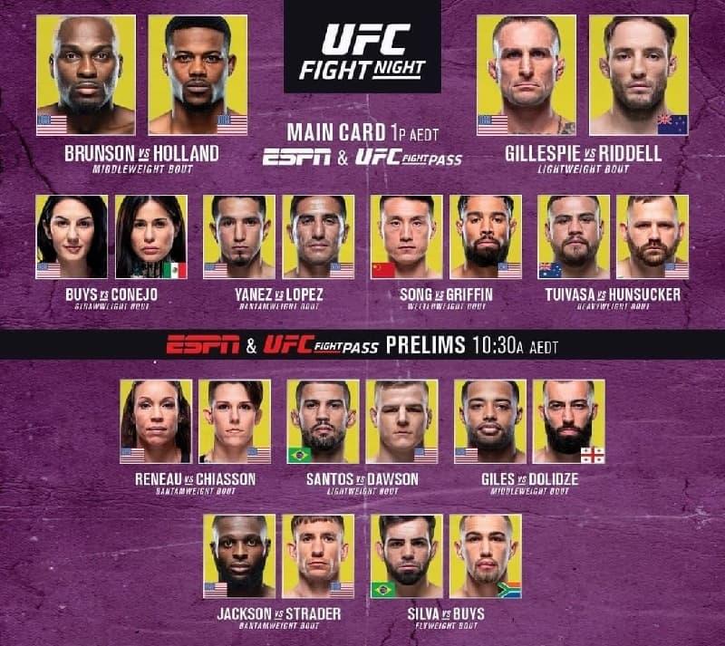 Кард турнира UFC Fight Night 188