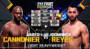 Видео боя Доминик Рейес - Джаред Каннонье / UFC Fight Night 129