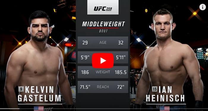 Видео боя Кельвин Гастелум - Йен Хейниш / UFC 258