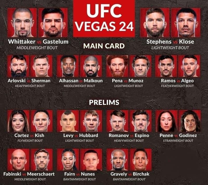 Кард турнира UFC Vegas 24