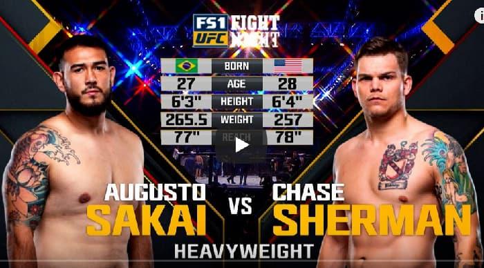 Видео боя Аугусто Сакаи - Чейз Шерман / UFC Fight Night 137