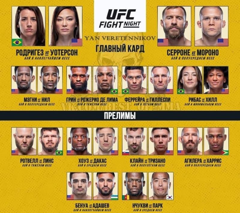 Кард UFC Vegas 26