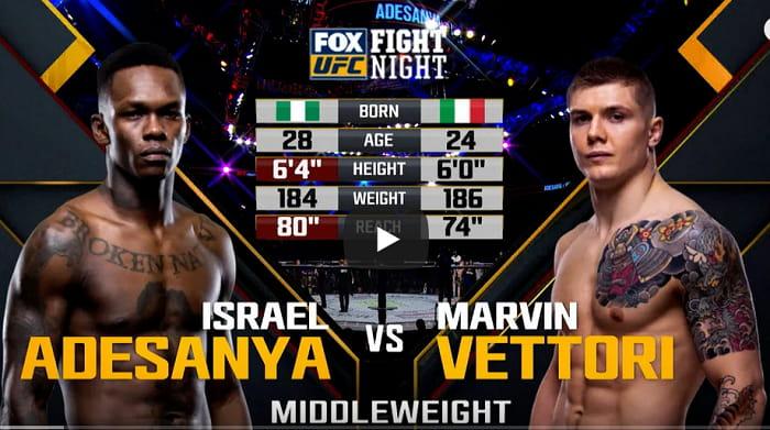 Видео боя Исраэль Адесанья - Марвин Веттори 1 / UFC on FOX 29