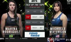 Видео боя Мишель Уотерсон — Марина Родригес / UFC Vegas 26
