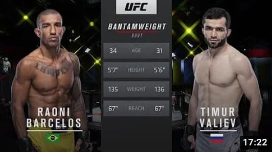 Видео боя Тимур Валиев - Раони Барселос / UFC Fight Night 191