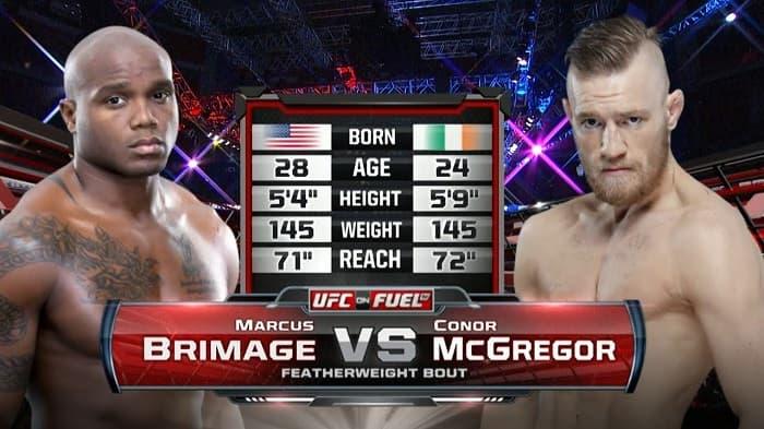 Видео боя Конор МакГрегор - Маркус Бримейдж / UFC on Fuel TV