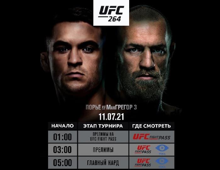 Прямая трансляция UFC 264 Макгрегор - Порье 3